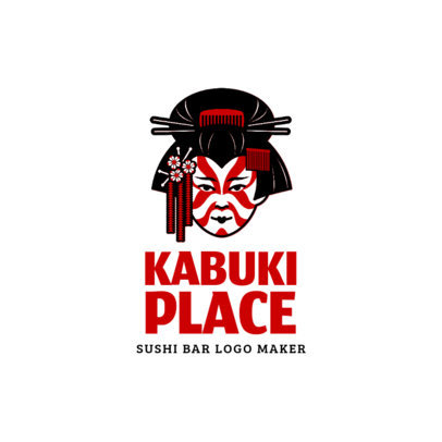Logo Maker for Japanese Restaurants with Kabuki Illustration 1215b
