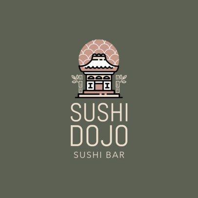 Restaurant Logo Maker with Japanese Castle Icon 1215d