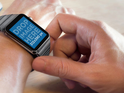 Apple Watch Mockup Template On Man Wrist