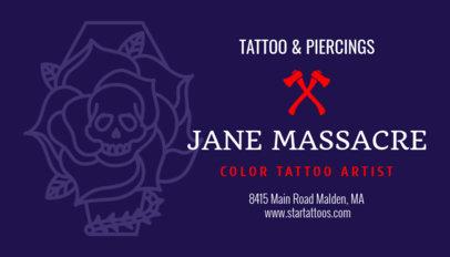 Customizable Business Card for a Female Tattoo Artist 95b-1819