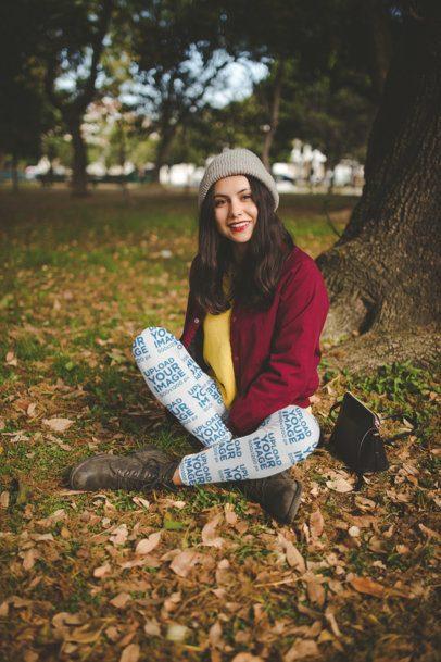Leggings Mockup of a Smiling Hispanic Girl at a Park a19070