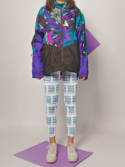 Leggings Mockup of a Woman Wearing an 80's Style Jacket a19136