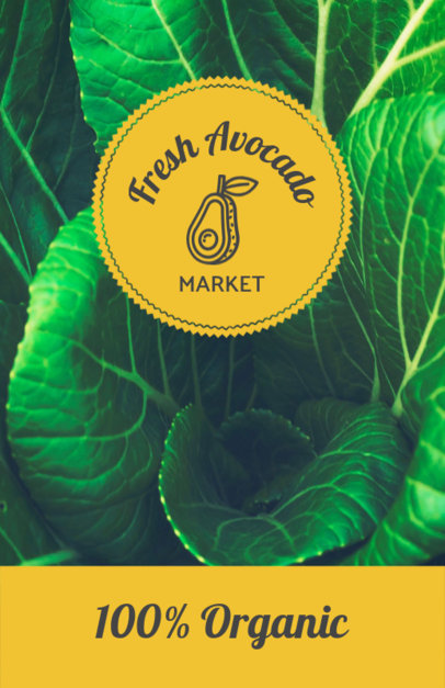 Organic Market Flyer Template with Leaves Background 194b