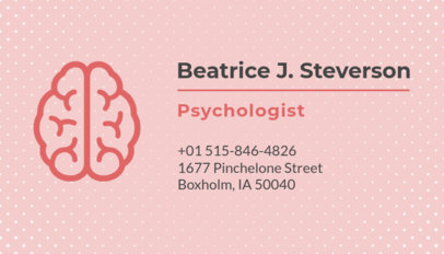 Business Card Template for Psychologists with Pink Theme 189c