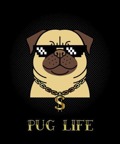 Dog T-Shirt Design Maker with Thug Pug 140c