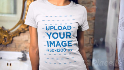 Beautiful Young Woman Wearing a Round Neck Tshirt Video Mirror Reflection and Hiding 13522a