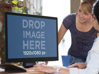 Desktop PC Mockup Template at Casual Office
