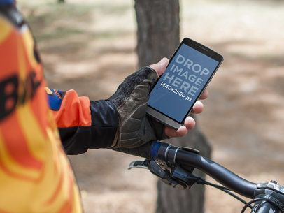 Android Mockup Template of Cyclist Outdoors