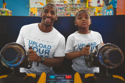 T-Shirt Mockup of a Father and Son Playing at the Arcade a20538