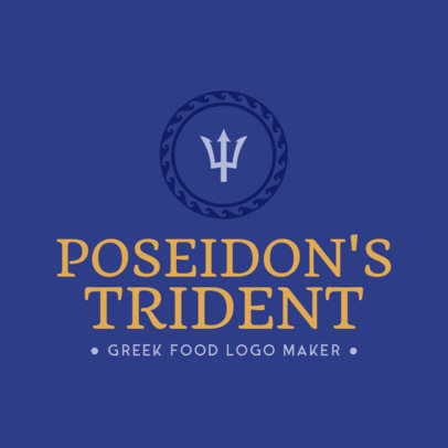 Greek Restaurant Logo Maker with Trident Clipart 1218e