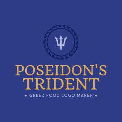 Greek Restaurant Logo Maker with Trident Clipart 1218e