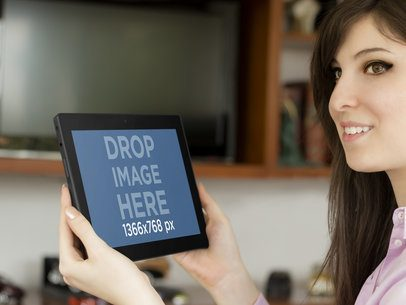 Tablet Mockup of Woman at Home Office
