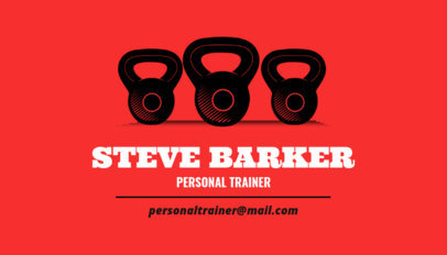 Simple Personal Trainer Business Card Maker With Kettlebell Weights Clipart 350