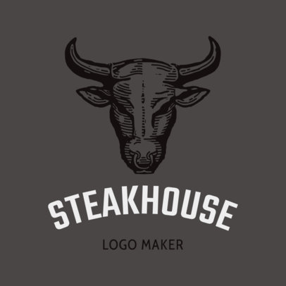 Online Logo Maker for a Steak House with Bull Clipart  1171d