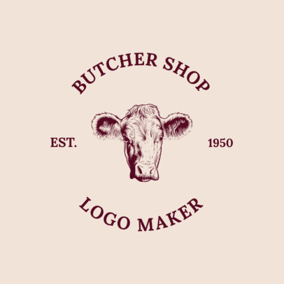Online Logo Maker for a Butcher Shop with Cow Illustration 1185b