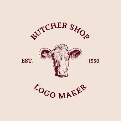 Online Logo Maker for a Butcher Shop with Cow Illustration