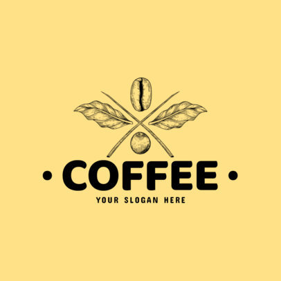 Coffee Brand Logo Maker with Coffee Beans Line Art 973b