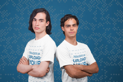 T-Shirt Mockup Featuring Two Gamers Posing with Arms Crossed a21107