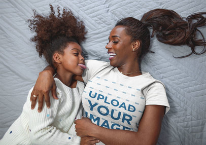 T-Shirt Mockup of a Mother Hugging her Daughter a21322