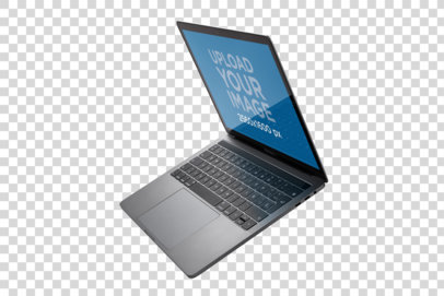 Mockup of a MacBook Floating in a Transparent Room a21459