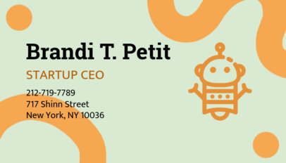 Online Business Card Maker for Startups with Robot Icon 209e