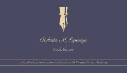 Business Card Maker for Editorial Services with Fountain Pen Icons 213a