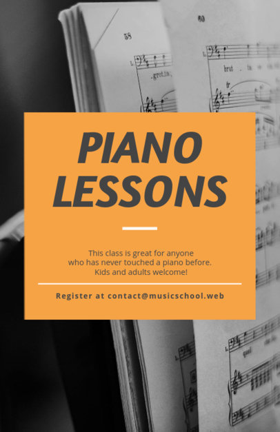 Flyer Template for Music Lessons with Textures Backgrounds 238e