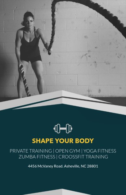 Fitness Online Flyer Maker with Black and White Images  92a