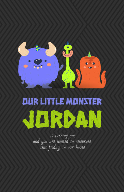 Birthday Party Flyer Maker with Monster Illustrations 210c