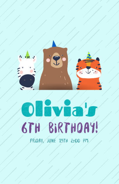 Flyer Maker for a Birthday Party with Zebra, Bear, and Tiger Drawings 210d