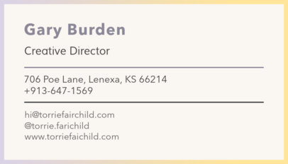 Minimalistic Business Card Template in Yellow 250e