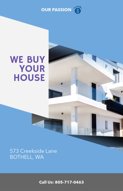 Online Flyer Maker for Real Estate Agencies with Blue Background 236d-1903