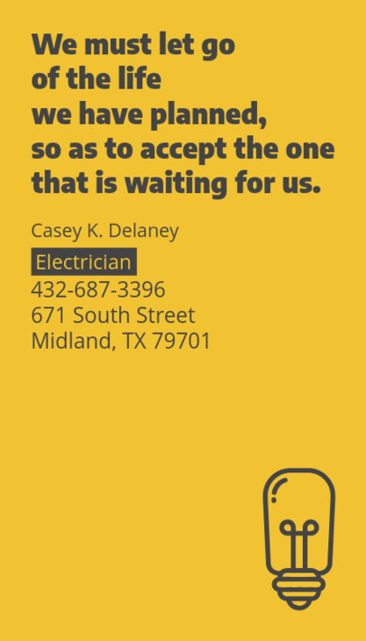 Electrician Business Card Maker with Minimal Design 237b