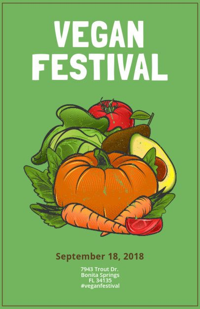 Online Flyer Maker for a Vegan Festival with Illustrations 163d