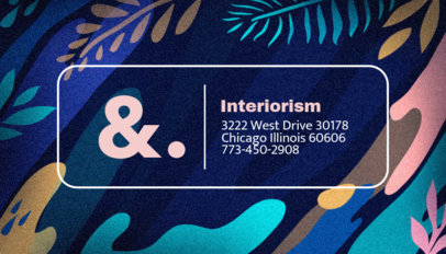 Interior Design Business Card Template with Artsy Background 246a
