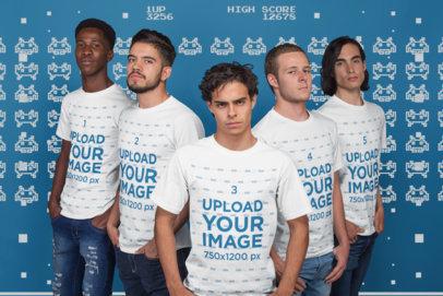 Group Shot Mockup of an Esports Team Wearing T-Shirts a21093