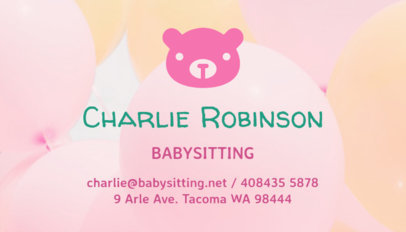 Business Card Maker for Babysitter with Cute Illustrations 256e