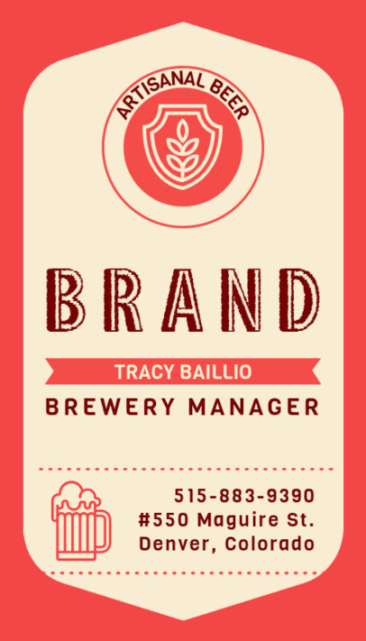Vertical Business Card Maker for Brewery Managers 261b