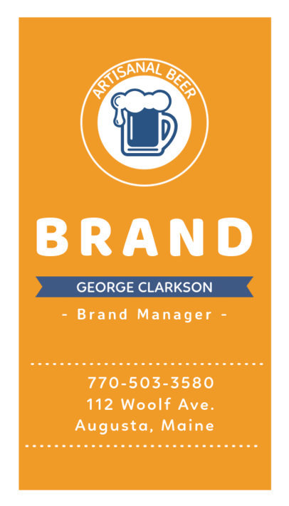 Beer Brand Manager Business Card Template with Custom Graphics 261c
