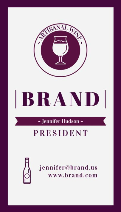 Custom Vertical Business Card Template for Wineries 261d