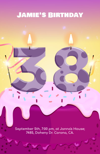 Birthday Party Flyer Maker with Customizable Numbers 233a