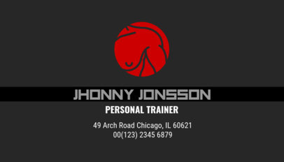 Personal Trainer Business Card Template with Illustrations 334e