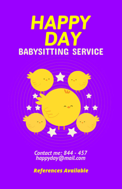 Online Flyer Maker for Nanny Services with Chick Clipart 349c