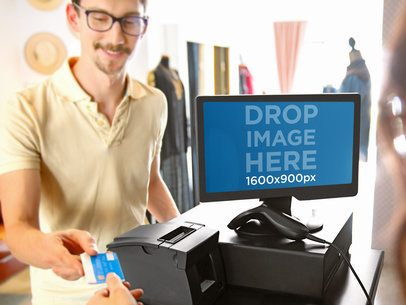 PC Mockup of a Sale Transaction Featuring a Male Customer Who Went Shopping