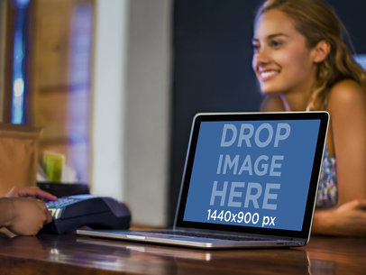 Mockup Template Featuring a Pretty Young Lady and a Macbook Pro