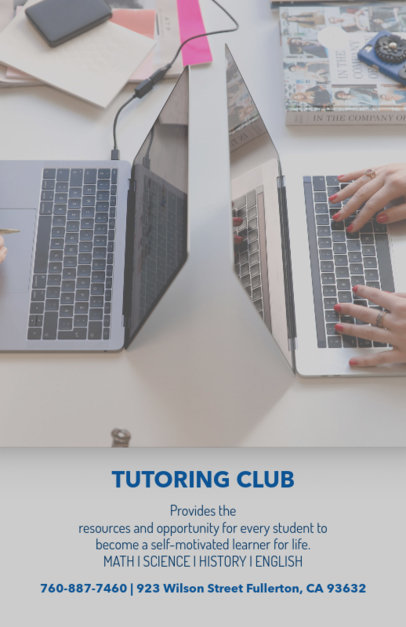 Flyer Template for a Tutoring Club 142c
