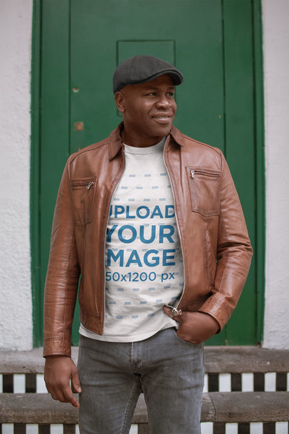Round Neck Tee Mockup Featuring a Senior Black Man Wearing a Leather Jacket 21434