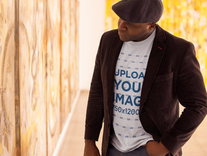 Tshirt Mockup of a Senior Man Wearing a Beret at an Art Exhibition 21467
