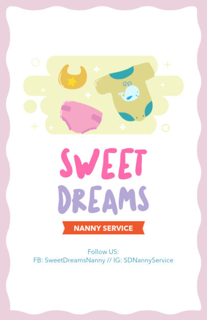 Online Flyer Maker for Nannies with Onesie Clipart 343c