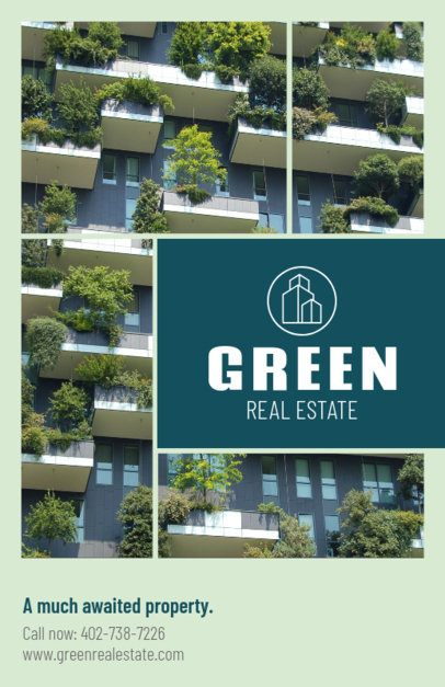 Open House Flyer Template for Green Real Estate 156b